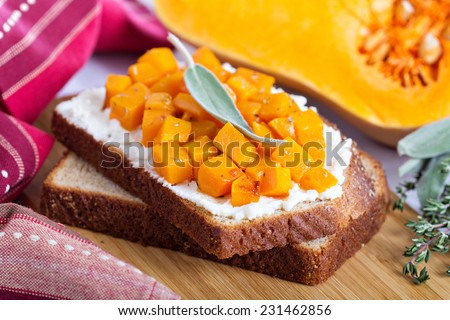 Open faced sandwich with ricotta and butternut squash for breakfast - stock photo