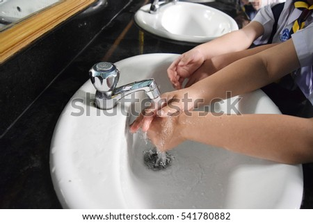 Open faucet to wash disinfection.