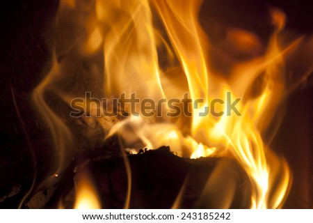 Open Fire on a Fire Place - stock photo