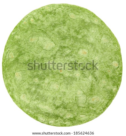 Open Flat Spinach Wrap Isolated Over White - stock photo