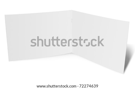 Open folded paper flyer - stock photo
