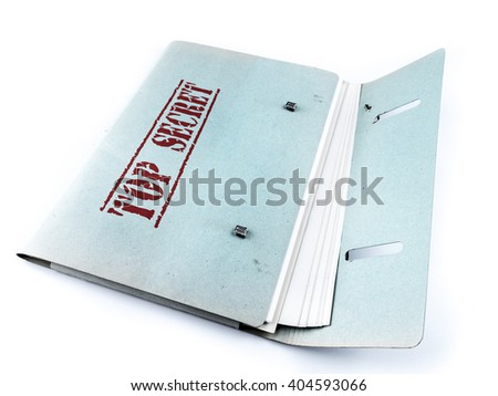 Open folder with top secret files on white background - stock photo