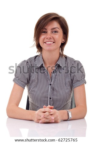 open for dialogue business woman, at her desk, over white - stock photo