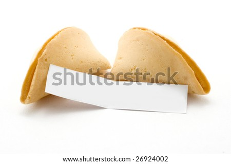Open fortune cookie with blank message white background - stock photo