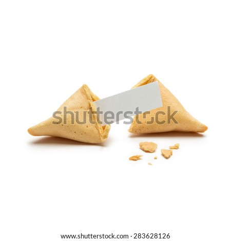 open fortune cookie with note and crumbs isolated on white background - stock photo