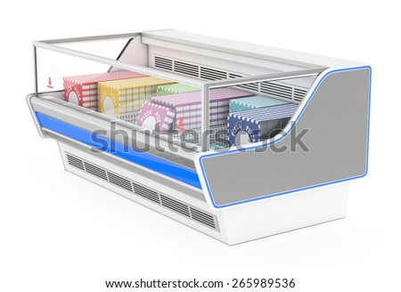 Open freezer showcase with products - stock photo