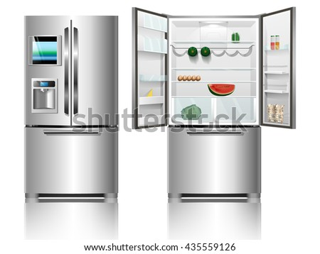 Chrome fridge. Fridge with food. Modern fridge.