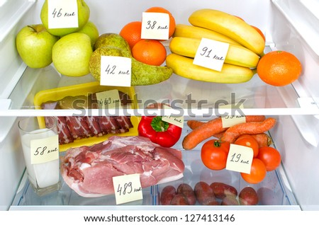 Open fridge full of fruits, vegetables and meat with marked calories - stock photo
