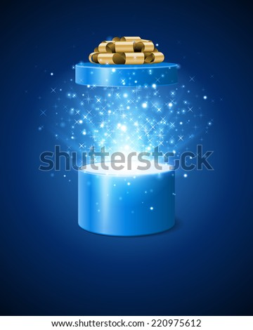 Open gift box and magic light fireworks Christmas background. Raster version. - stock photo