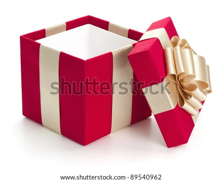Open gift box, isolated on the white background, clipping path included. - stock photo