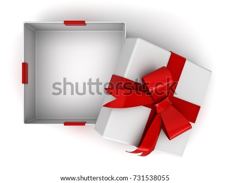 Open gift box present box red 731538055 shutterstock open gift box or present box with red ribbon bow and blank space in the box negle Images