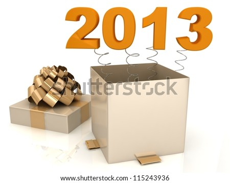 Open gift box with 2013 - stock photo