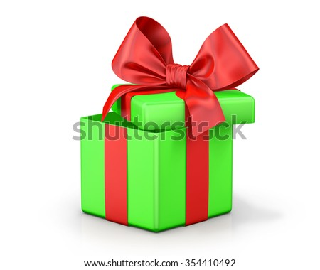 Open gift box with  bow isolated on white