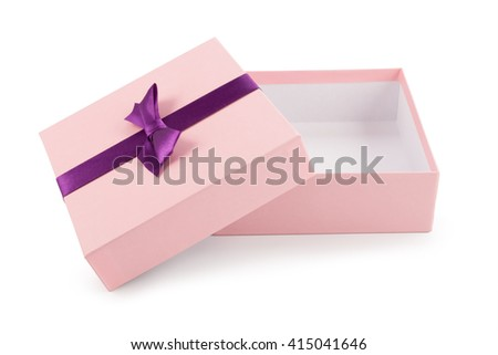 Open gift pink box isolated on white background.