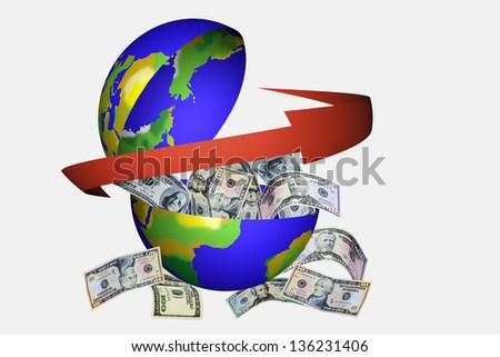 Open globe inside full of money - stock photo