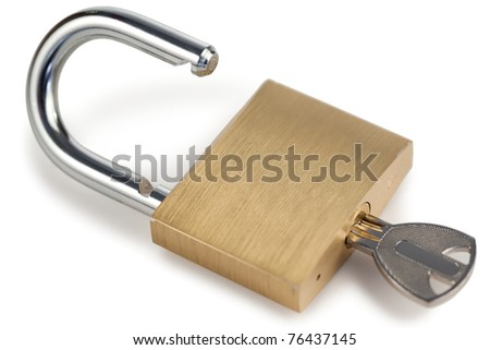 Open golden padlock on a white background