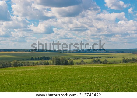 Open green field forest and clouds on blue sky in summer, sunny day. Good weather. Away, far hills, trees. Mystical, mysterious, magical, fantastic panoramic landscape, place. Photography, image