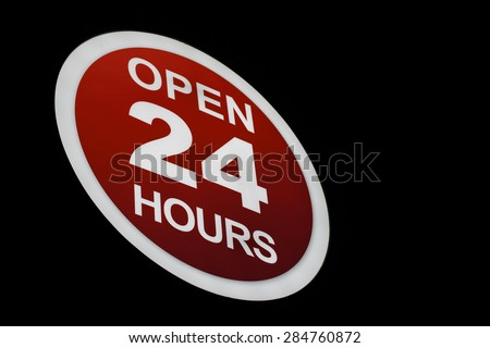 Open 24h store sign (with Clipping Path)  - stock photo