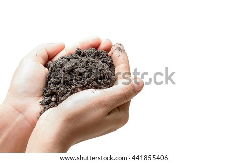 Open Hand and soil in hand isolated on white background.clipping path