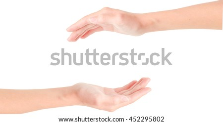 open hand for protection isolated background  - stock photo