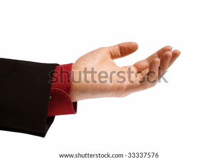 open hand of a business man - stock photo
