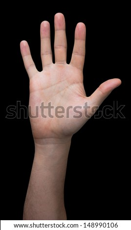 Open hand on a black background  - stock photo