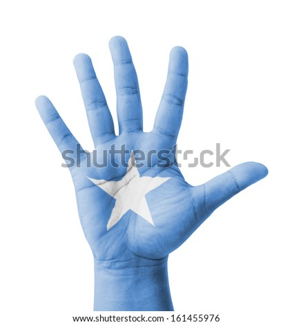 Open hand raised, multi purpose concept, Somalia flag painted - isolated on white background