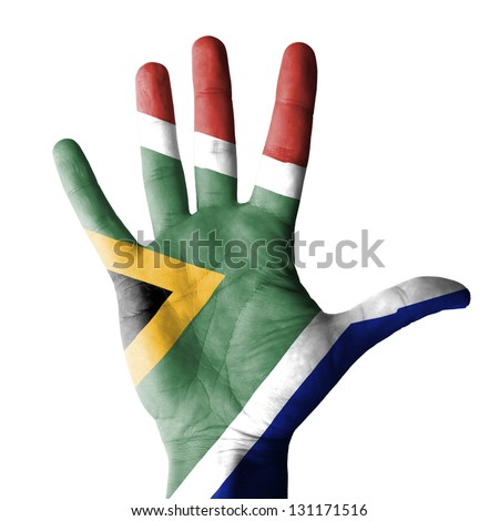 Open hand raised, multi purpose concept, South Africa flag painted - isolated on white background - stock photo