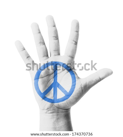 Open hand raised, Peace sign painted, multi purpose concept - isolated on white background - stock photo