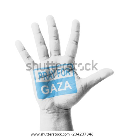 Open hand raised, Pray for Gaza sign painted, multi purpose concept - isolated on white background - stock photo