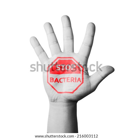 Open Hand Raised, Stop Bacteria Sign Painted - stock photo