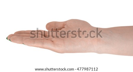 Open hand showing anything, natural female's skin, green manicure. Isolated on white background.
