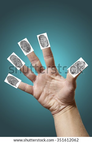 Open hand with fingerprints isolated - stock photo