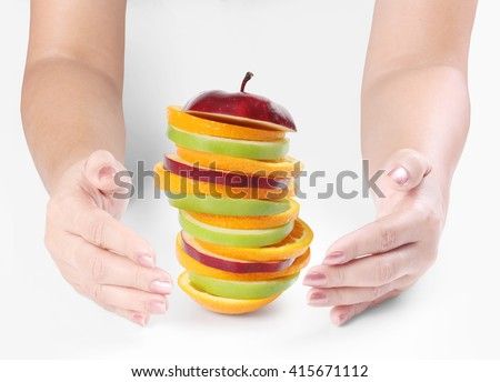 Open hands Holding a apple - stock photo