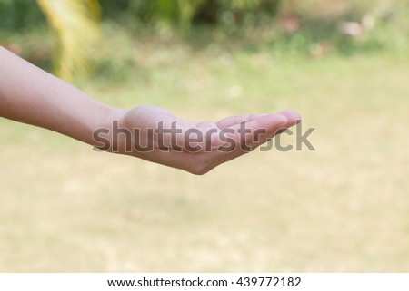 Open hands on natural background blurred outdoor. - stock photo