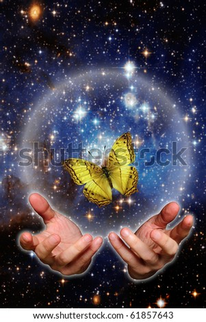 open hands with butterfly against space, renewal concept - stock photo