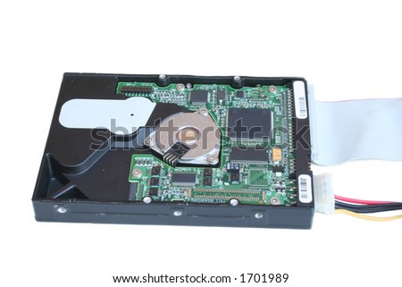 open hard drive case with molex power cable and an IDE ribbon connector - stock photo