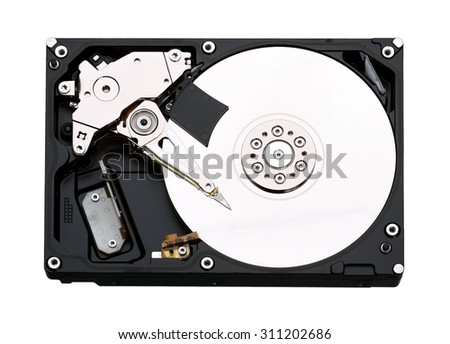 Open hard drive isolated on white background.