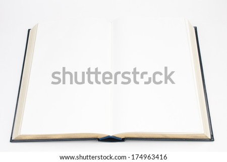 Open Hardcover Book with Blank Pages  - stock photo