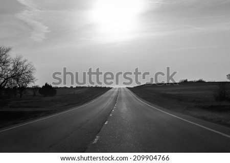 Open Highway in Black and white - stock photo