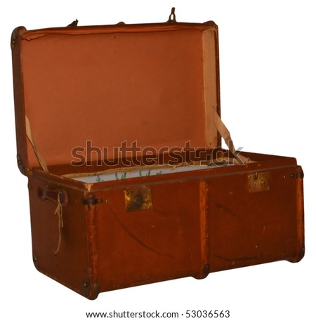 Open historic suitcase, empty and isolated on backgrouns - stock photo