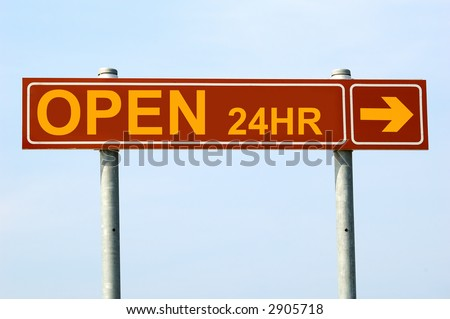 open 24 hours sign - stock photo