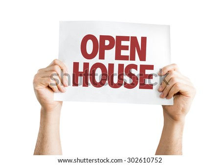 Open House card isolated on white - stock photo