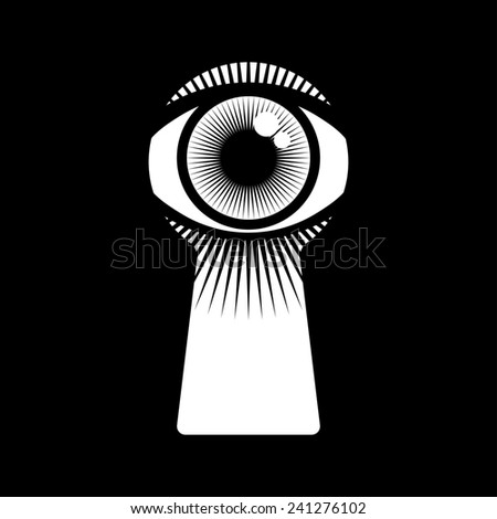 open human eye in keyhole - stock photo