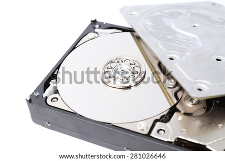 Open Inside Hard Disk Drive (HDD)-Computer Hardware Components. - stock photo