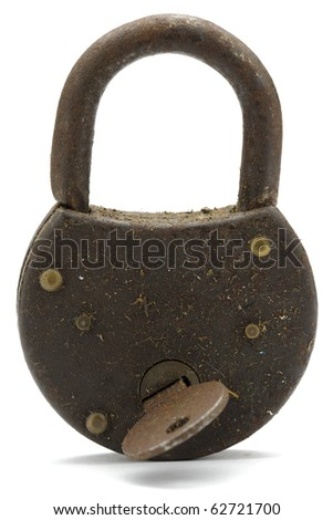 Open iron padlock on white background with soft drop shadow - stock photo