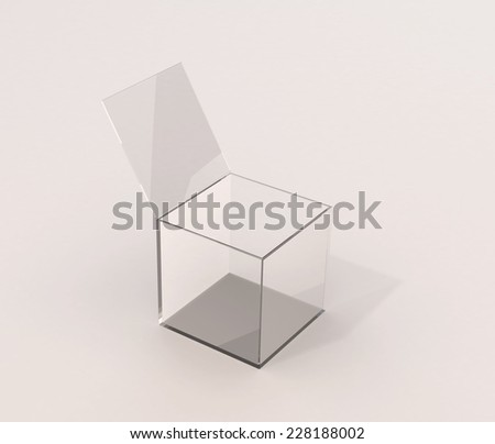 Open isolated glass box with shadow - stock photo