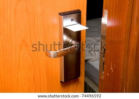 Open keycard door - stock photo