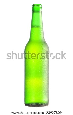open lager beer bottle condensate with clipping path - stock photo