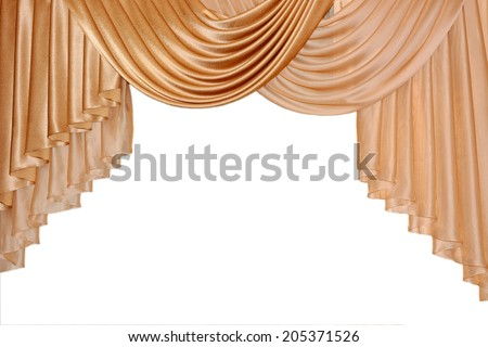 Open lambrequin (portiere, curtain) golden color on the window. Classic interior decoration indoor openings lambrequins back into fashion. - stock photo